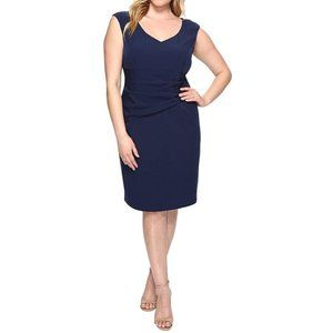 Adriana Papell Plus Size Navy Crepe Dress NWT